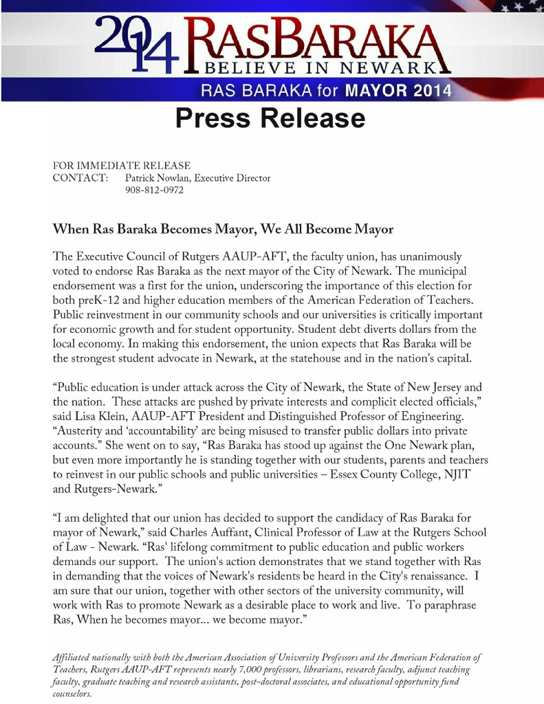 AAUP-AFT endorsement press release